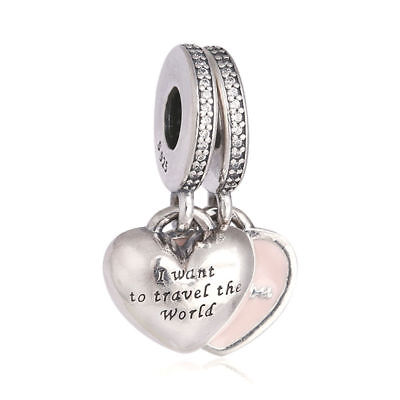 Two Part Travel Together Forever Dangle Charm Authentic Sterling Silver Bead