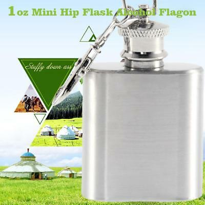 1oz Mini Stainless Steel Hip Flask Alcohol Flagon with Keychain Ring Silver