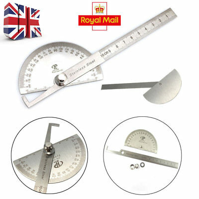 Stainless Steel 180° Protractor Round Rotary Angle Rule Finder Arm Ruler UKEY