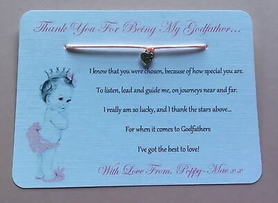 Thank You For Being My Godmother Card Personalised Godfather Godparents Gift