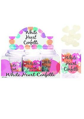 White Heart Shaped Wedding Confetti in Paper Sealed Pack Decoration 1 Pouch Hand