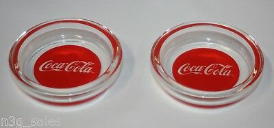 Vintage Coca-Cola Coke Red and Clear Glass Ashtray Set Pair of 2