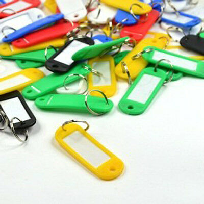 """60pcs 2.3"""" Assorted Colors Key ID Tags Ring Keyring Keychain with Label Window"""