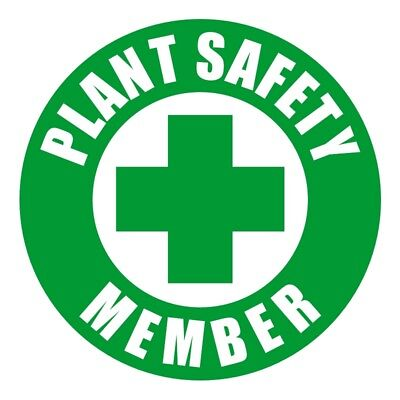 PLANT SAFETY MEMBER Hard Hat Sticker | Helmet Decal Label Badge Foreman Laborer