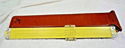 Vintage 1959 PICKETT Metal SLIDE RULE Model N1010-ES TRIG Ruler ECKEL Leather