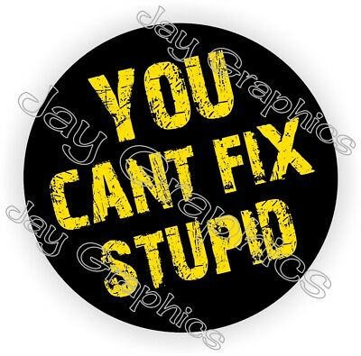 Hard Hat Sticker | YOU CANT FIX STUPID Funny Welding Helmet Decal Vinyl Label