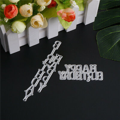 2pcs happy birthday letters metal cutting dies stencil scrapbooking decor diy g1