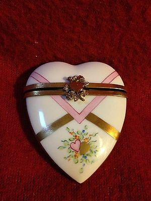 Vintage - Limoges Porcelain Rochard Hand Painted Valentine Box with Brass Heart