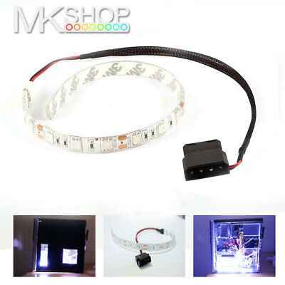 2x Cool White 30cm 5050 LED Molex Connector Modding PC Case Strip Light