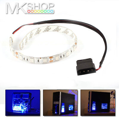 2x Blue 30cm 5050 LED Molex Connector Modding PC Case Strip Light