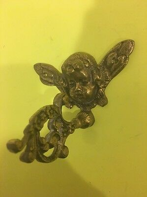 Vintage Solid Brass Cherub Angel Head Coat And Hat Hook