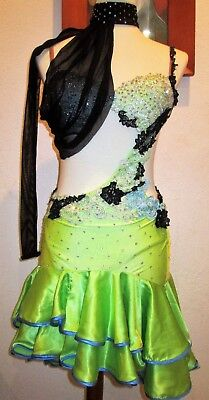 Latin dance competition dress swarovski stones women XS/S