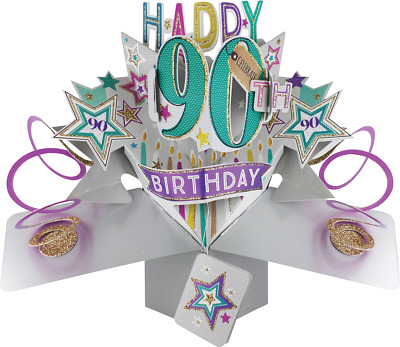 90th BIRTHDAY POP UP CARD 3D IDEAL FOR MUM DAD SON GRANDPARENT 18 21 30 60 50 80