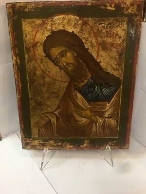 Antique Russian icon of ST. JOHN THE Baptist 19TH Century