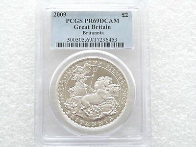 2009 British Britannia £2 Two Pound Silver Proof 1oz Coin PCGS PR69 DCAM