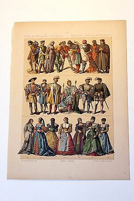 Antique MIDDLE AGES COSTUME Print by F. Hottenroth-1884 FRENCH 16th Century