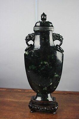 19th/20th C. Chinese Carved Black Jade Covered Vase