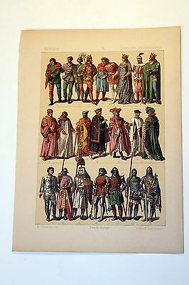 Antique MIDDLE AGES COSTUME Print by F. Hottenroth-1884 FRENCH 14th Century