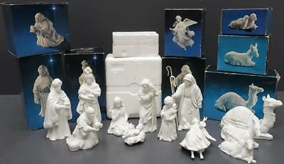 Avon Nativity Collectibles 12 Piece Set White Bisque Porcelain Figurines Animals