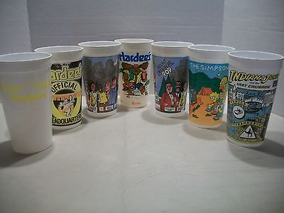 Vintage Plastic Collector Cup Lot of 7 Hardees Moose Indiana Jones Simpsons Bob