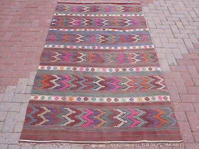 "Vintage Turkish Kilim Rugs,Stripped Kelim,Modern Rug 51,9""x90,9"" Area Rug,Carpet"