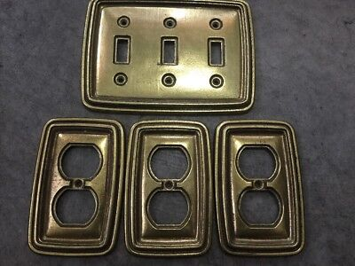 Lot Of 4 Vintage MCM Brass Triple Switch And Outlet Covers Mid Century Modern
