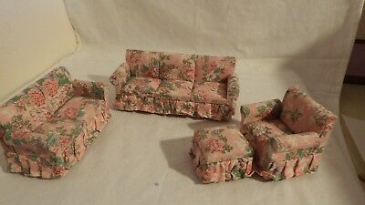 dolls house furniture 2x cottage sofas /armchair/stool  1.12th