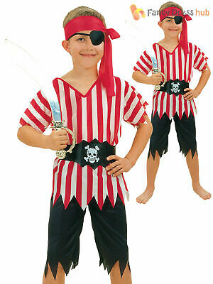 Boys Caribbean Pirate Fancy Dress Costume Kids Book Week Halloween Child Outfit