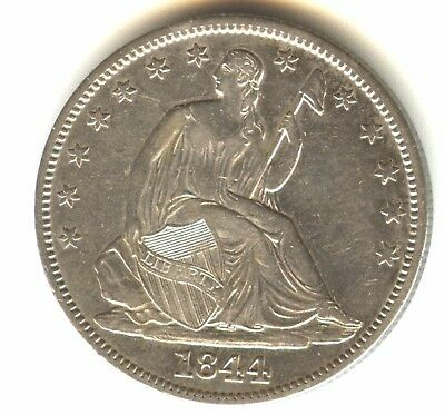 1844 P Seated Liberty Half Dollar AU Details In Grade Cleaned
