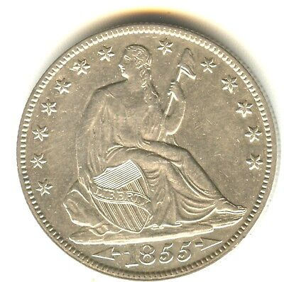 1855 O Seated Liberty Half Dollar With Arrows AU ++ In Grade