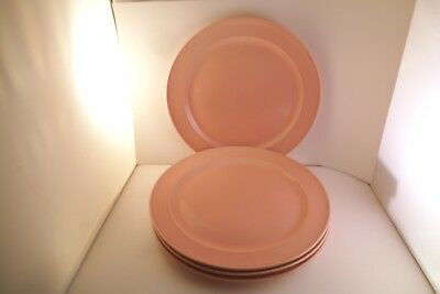 Vintage TS & T Taylor Smith LuRay Pastels Set of 4 Dinner Plates Pink