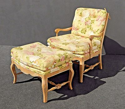 Vintage French Country Style Floral Design Carved Wood Accent CHAIR & OTTOMAN
