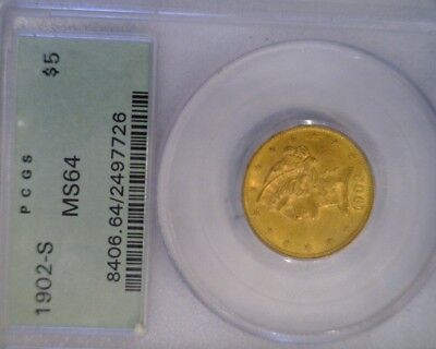 1902-S Five Dollar Gold Coin MS64 PCGS