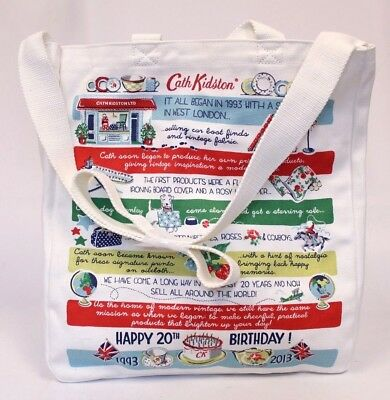 Cath Kidston Collectible Cotton Canvas Birthday Tote White CB8 One Size NWT
