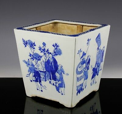 Old Chinese Blue And White Porcelain Four Sided Planter Bowl W Figures