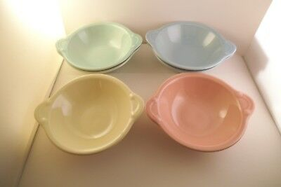 Vintage TS & T Taylor Smith LuRay Pastels Set of 6 Lugged Soup Cereal Bowls