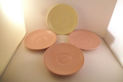 Vintage TS & T Taylor Smith LuRay Pastels Set of Saucers 3 Pink 1 Yellow