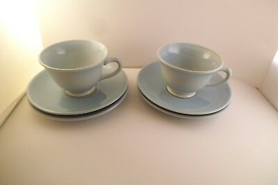 Vintage TS & T Taylor Smith LuRay Pastels Set of 2 Cups & 4 Saucers Blue