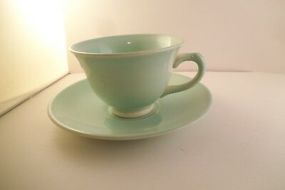 Vintage TS & T Taylor Smith LuRay Pastels Cup & Saucer Green
