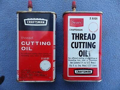 Two Early 8 oz Cans SEARS ROEBUCK Craftsman Thread Cutting Oil #25521