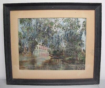 Florida Keys or Louisiana Bayou Hand Painted Tinted Photograph In Mission Frame