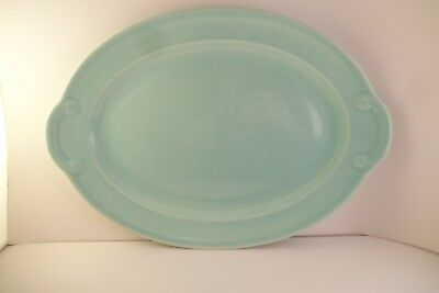 """Vintage TS & T Taylor Smith LuRay Pastels 11"""" Oval Serving Platter Green"""