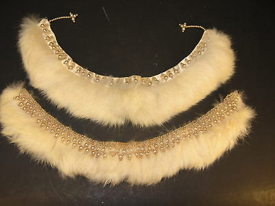 Set of 2 VTG 1950's Genuine Rabbit Fur Collars w/Satin Backing &  Beaded Trim