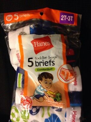 HANE Boys BRIEFS Size 2t/3t NEW (open package) 5 pair HANES TODDLER