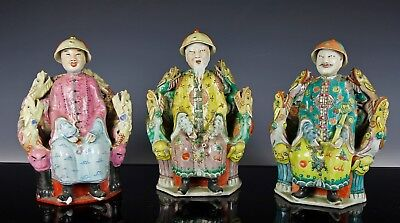 Nice Lot Of Three Old Chinese Porcelain Statues Figurines Of Seated Figures