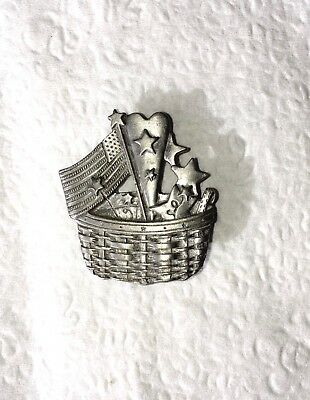 LONGABERGER Pewter Patriotic Basket Stars and Stripes Heart and American Flag