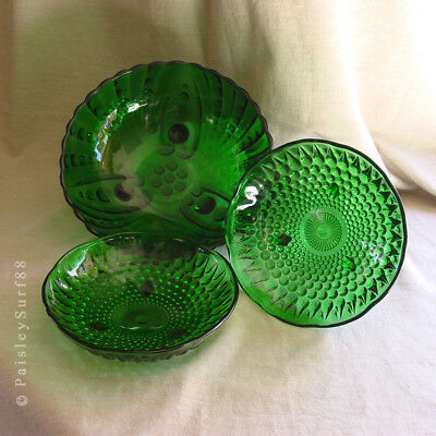 LOT of 3 Emerald Green Pressed Glass BOWLS Candy Dishes Footed Anchor Hocking ?