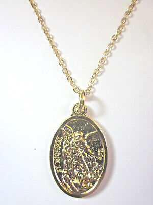 """St Michael Archangel/Guardian Angel Medal Pendant Necklace Gold Plated 20"""" Chain"""