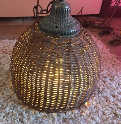 Antique Vintage Wicker Hanging Lamp Light Ornate Top