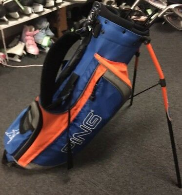 PING Moxie 30 Inch Kids Jr Left Handed Golf Stand Carry Bag Blue/Orange.